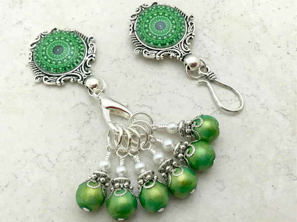 Green Mandala Magnetic Portuguese Knitting Pin & Stitch Marker Set | Gift for Knitters |