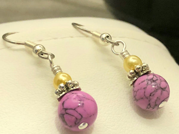 Orchid Magnesite French Hook Wire Earrings | Beaded Earring Jewelry | Gift for Her