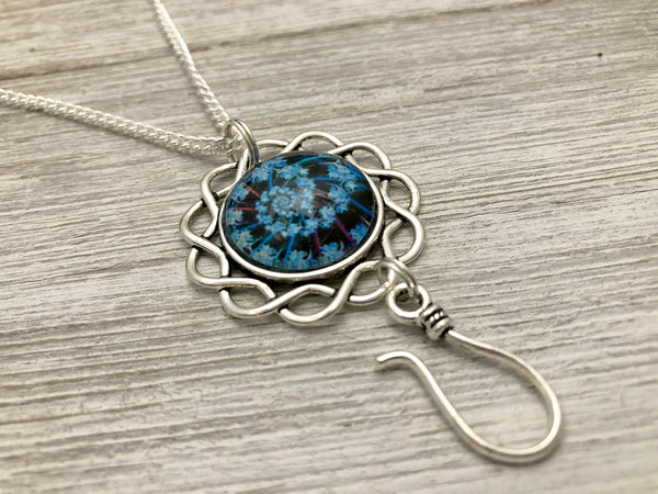 Blue Fractal Portuguese Knitting Necklace, Adjustable