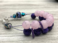Purple Flowers Abacus Counting Bracelet | Row Counter