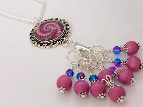 Pink Swirl Stitch Marker Necklace, Includes 7 Markers,Choose Leather Cord or Silver Chain