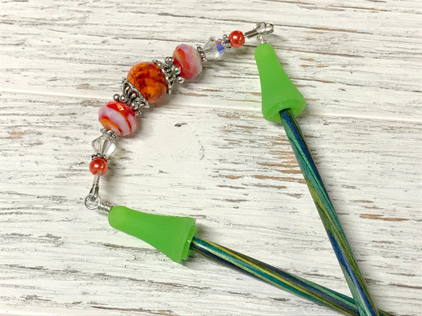 Orange Point Protector Jewelry for Knitting Needles, Stitch Holder