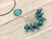 Teal Paisley Stitch Marker Necklace & Snag Free Knitting Markers, Adjustable