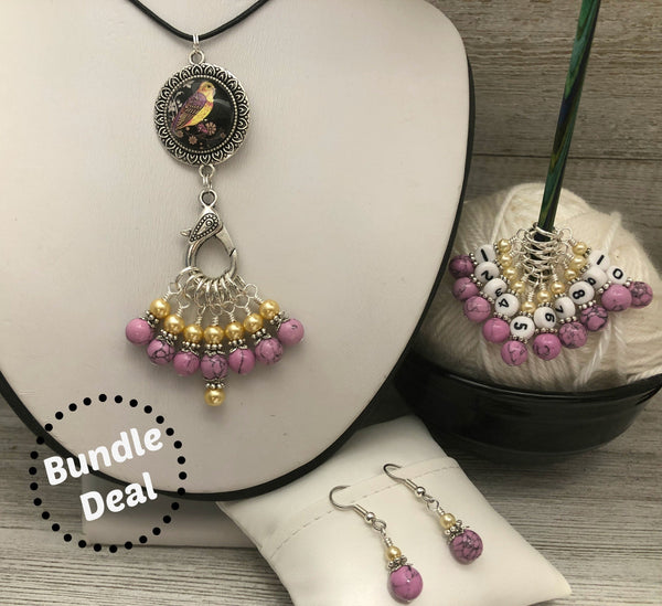 Orchid Finch Knitting Bundle | Adjustable Stitch Marker Necklace | Snag Free Stitch Markers | Counting Marker | Earrings | Gift for Knitters