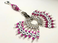 Pink Numbered Stitch Marker Set | Knitters Gift | Removable Progress Keepers | Counts 0-99