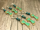 Jade Green Cats Stitch Marker Set, Sizes US3 to US15
