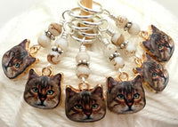 Cat Faces Stitch Marker Set | Knitting Gift | Snag Free | Sizes US3 to US17 | Add a Holder |