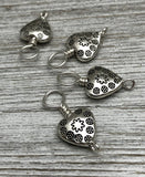 Tiny Hearts Stitch Markers on Snag Free Sterling Silver Filled Wire for Knitting | Gifts for Knitters | US3-US11 | Optional Holder Available