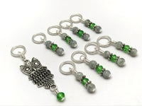 Perched Owl Stitch Marker Set, Gifts for Knitter