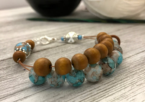 Earth & Sky Abacus Counting Bracelet | Row Counter Jewelry | Gift for Knitters | Add Matching Stitch Markers