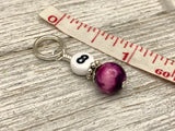 Magenta Jade Number Stitch Markers, Optional Holder Available