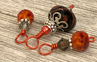 Autumn Orange Snag Free Stitch Markers | Gifts for Knitters | US3-US15