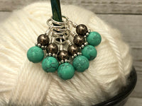 Turquoise & Chocolate Snag Free Stitch Marker Charms | Knitting Progress Keepers | Gifts for Knitters | US3-US17 | Optional Matching Holder