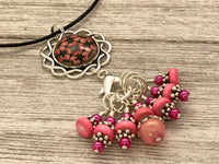 Floral Medallion Stitch Marker Necklace | Gifts for Knitters | 7 Snag Free Markers | Choose Leather Cord or Silver Chain