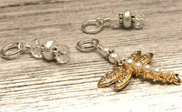 Dragonfly Sparkle Stitch Marker Set for Knitting | Snag Free | Gifts for Knitters | Optional Matching Holder Available