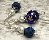 Flowers on Cobalt Snag Free Stitch Markers for Knitting | Gifts for Knitters | Optional Matching Holder Available