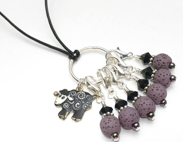 Black Sheep Stitch Marker Necklace | Gifts for Knitters | Removable Markers