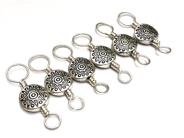 Double Duty Silver Medallion Stitch Marker Set, 2 Sided Marker