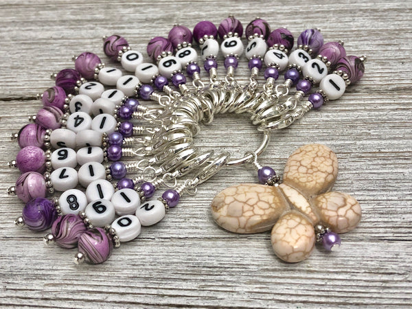 Number Stitch Markers with Butterfly Holder | Up To 30 Markers | Gifts for Knitters | Progress Keepers