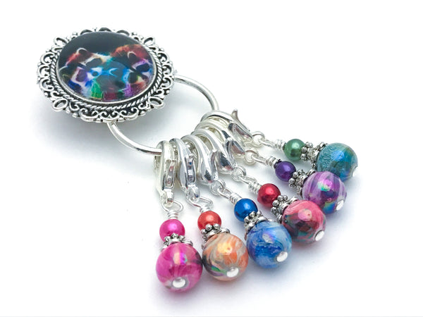 Magnetic Raccoon Stitch Marker Holder with Removable Progress Markers for Knitting or Crochet