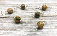 Leopard Jasper Double Duty Stitch Markers, 2 Sided Marker on Anti Tarnish Wire