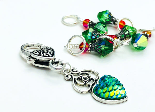 Mermaid Heart Stitch Marker Set for Knitting | Gift for Knitters | Size Options |