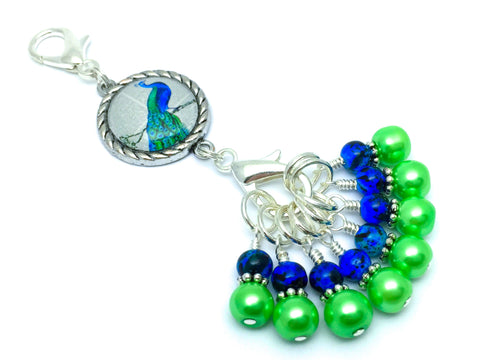 Peacock Stitch Marker Charm Set | Snag Free | Gift for Knitters