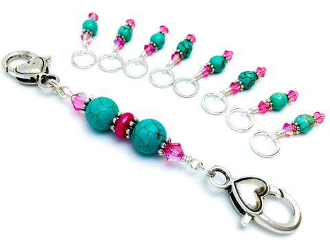 Knitting Stitch Markers & Holder, Snag Free, Gift for Knitters, Turquoise and Rose