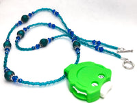 Teal Cobalt Locking Row Counter Necklace