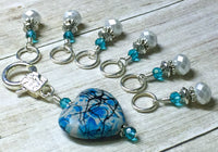 Splattered Heart Stitch Marker Set for Knitting, Gift for Knitter