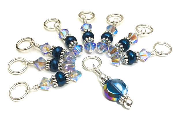Blue Crystal Knitting Stitch Marker Set,  US3-US15