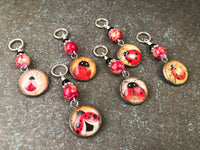 Ladybug Stitch Markers for Knitting or Crochet, Snag Free Rings or Clasps