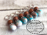 Earth & Sky Abacus Counting Bracelet, Row Counter, Add Matching Stitch Markers