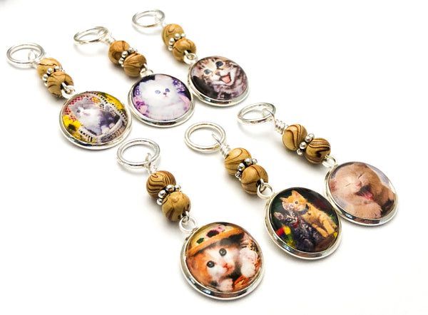 Lovable Cat Stitch Markers For Knitting or Crochet, Sets of 6-20