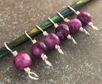 Agate Stone Double Duty Stitch Marker Set | Gift for Knitters | 2 Needle Sizes in 1 Marker