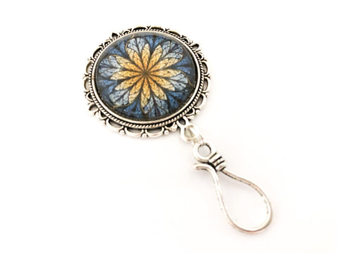 Flower Fractal Portuguese Knitting Pin with Matching Stitch Markers, Magnetic