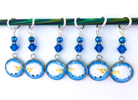 Fluffy Sheep Stitch Markers for Knitting or Crochet, Choose Rings or Clasps