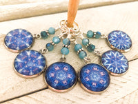 Blue Mandala Stitch Markers for Knitting or Crochet, Choose Rings or Clasps