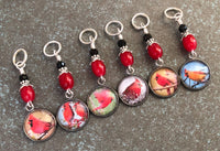 Cardinals Stitch Marker Set for Knitting or Crochet, Snag Free Rings or Clasps