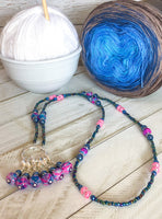 Stitch Marker Necklace for Knitting or Crochet, Includes Removable Progress Keepers