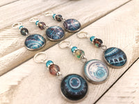 Abstract Medallion Stitch Markers for Knitting or Crochet