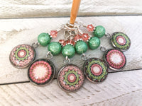 Mandala Stitch Markers for Knitting or Crochet, Choose Rings or Clasps