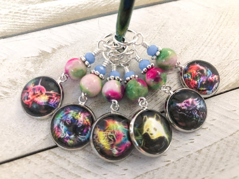 Wild Animal Stitch Markers for Knitting or Crochet, Choose Rings or Clasps