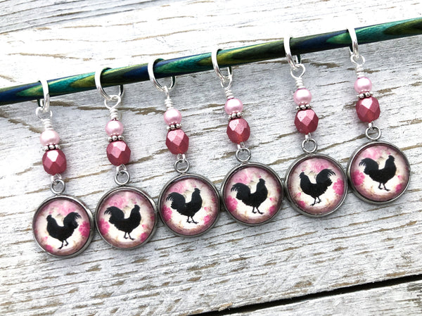 Rooster Stitch Markers for Knitting or Crochet, Gift for Knitters, Chicken Gifts
