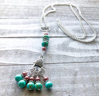 Turquoise Stitch Marker Necklace with Tarnish Resistant Silver Chain