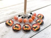 Sunset Horses Stitch Markers for Knitting or Crochet, Choose Rings or Clasps