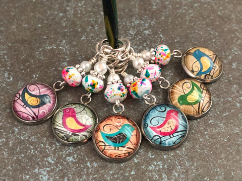 Whimsical Bird Stitch Markers for Knitting or Crochet, Gift for Knitters, Snag Free