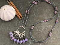 Riverstone Stitch Marker Necklace | Gifts for Knitters | Includes 8 Removable Progress Markers