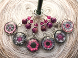 Magenta Medallion Stitch Markers for Knitting or Crochet