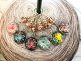 Floral Stitch Marker Set for Knitting or Crochet | Gift for Knitters | Choose Rings or Clasps | Snag Free